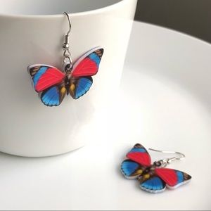 NEW Acrylic Red and Blue Butterfly Earrings